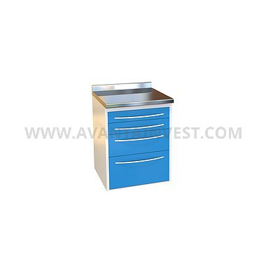 Module P-04 with 4 drawers, stainless steel desktop