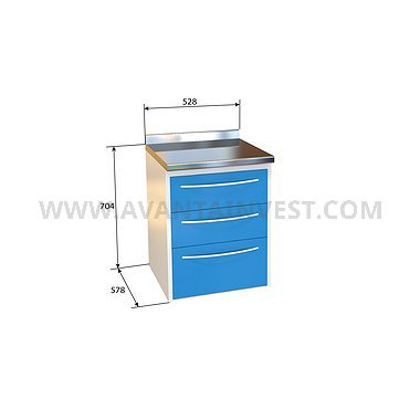 Module P-03 with 3 drawers, stainless steel desktop