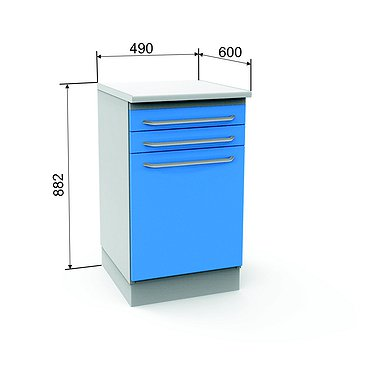Module A-13 with 2 drawers, door and 2 shelves