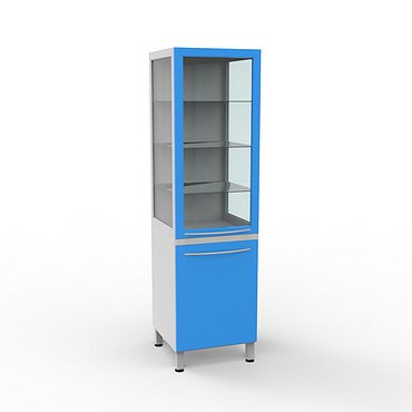 A-102 C Glass cabinet with interior lighting and 3 shelves with a cabinet with