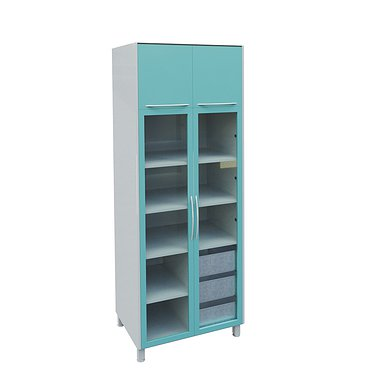A-105C Glass locker with 2 glass doors, mezzanine, 3 drawers and shelves