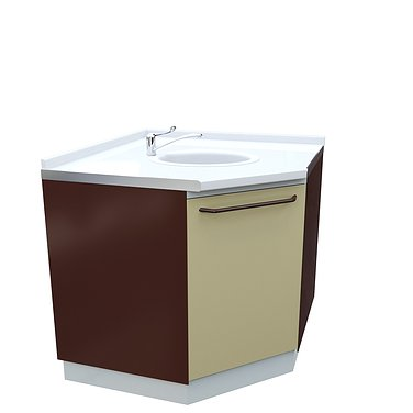 Corner module A-10M* with sink, faucet and wastebasket