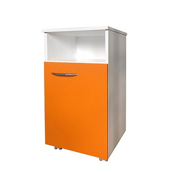 Mobile drawer unit housing and front faces made of  laminated chipboard with niche and door.
