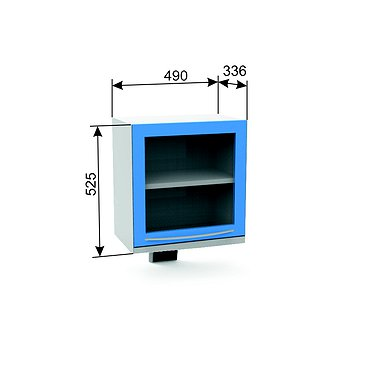 Germicidal suspension module A-16B with the lower light, glass door, a shelf and a lamp