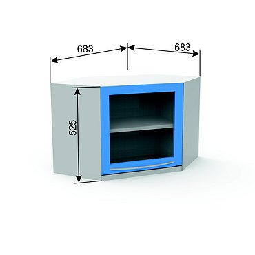 Suspended module A-16Y* with glass door and shelf