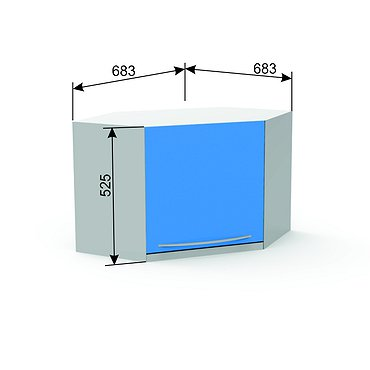 Corner suspended module A-17Y* with door and shelf