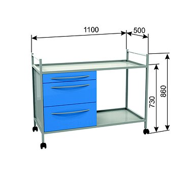 Т-04 trolley with 2 shelves and 3 drawers