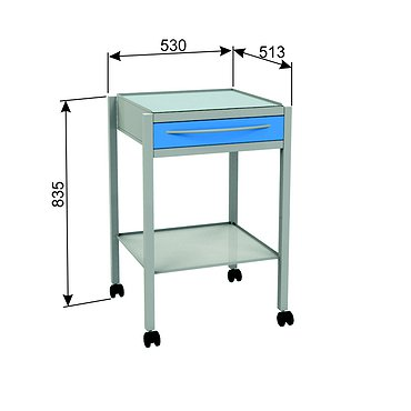 Т-18 mobile stand with 2 shelves and 1 drawer