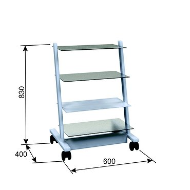 Т-19 mobile stand for additional equipment with 3 glass-made shelves