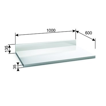 Stainless steel STN-1 tabletop with skirting-board and stainless steel channel strips