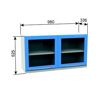 Suspended module A-16 with two hinged doors, glass shelf and bottom illumination