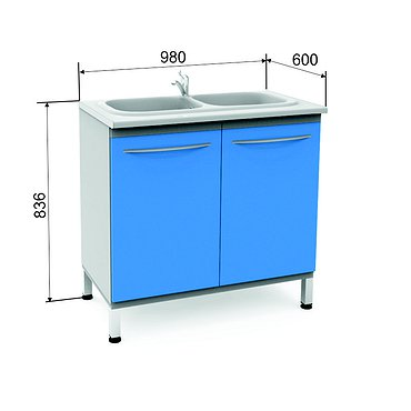 Module P-10-2М with double sink, faucet, wastebasket and shelf