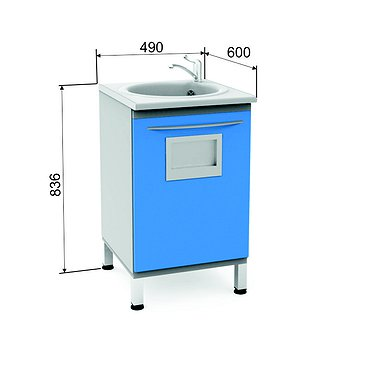 Module P-10МО with sink, faucet, access port and wastebasket