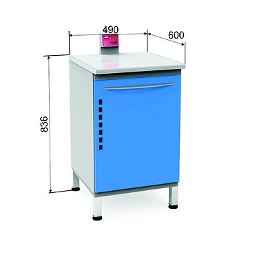 Bactericidal module P-09B with lamp, glass door and 5 rollout shelves