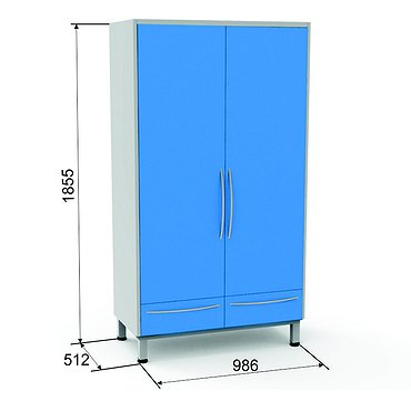 Locker SHK-3 with 3 shelves and 2 drawers