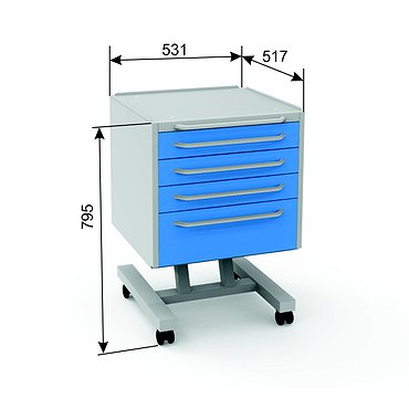 Doctor's mobile table А-014, 4 boxes