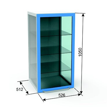 Glass module A-102S with 3 shelves and inner highlighting (can be installed on any of stationary modules)