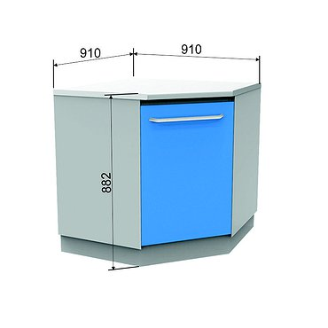 Corner module A-10* with door and 2 shelves