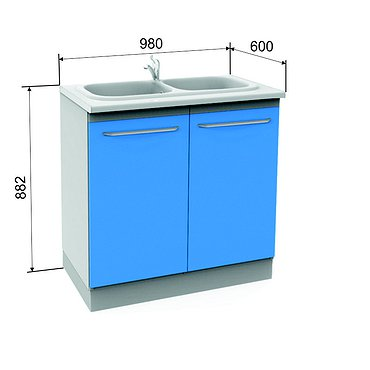 Module A-10-2M with double sink, faucet, wastebasket and shelf