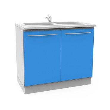 Module А-10-2М with double sink, faucet, wastebasket and 2 shelves